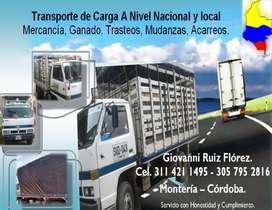 MONTERÍA CÓRDOBA - Trasteos, Mudanzas, Acarreos. Transporte de Mercancía, Ganado.