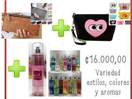 Cartera, Cosmetiquera y Splash Bath & Body original