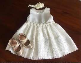 Vestido elegante con zapatos y Balaca niña 2 años