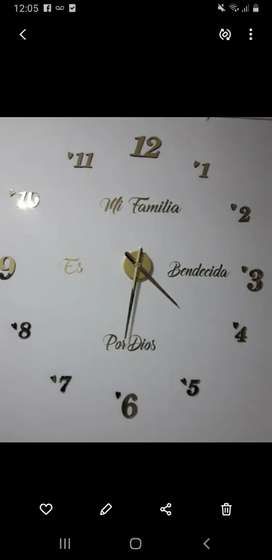 Reloj de pared 3D, tamaño grande 120 x 120 c.m entrega inmediata