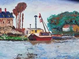Barco mecánico Cuadro al Óleo