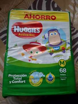 Pañales huggies active sec talle M