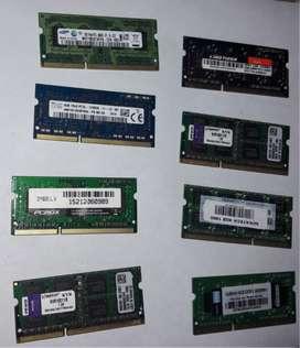 MEMORIAS DDR3, VARIAS MARCAS Y CAPACIDADES.