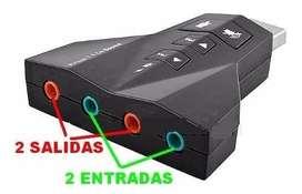 PLACA DE SONIDO USB DOBLE SALIDA Y ENTRADA-7.1 Virtual Dj
