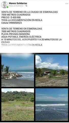 VENTA DE TERRENO EN ESMERALDAS