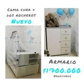 CAMA CUNA + DOS NOCHEROS + ARMARIO NUEVA
