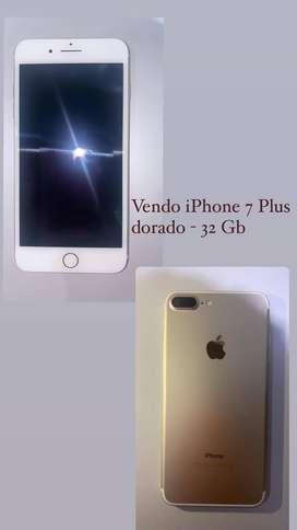IPHONE 7 plus dorado- 32 GB estado de batería 100%