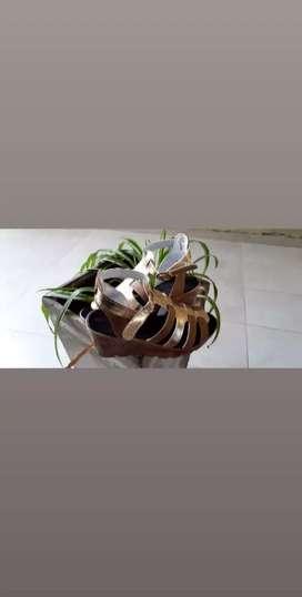 Sandalias cómodas sin usar color dorado y marrón suela liviana