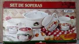 Nuevo Hermoso juego o set de sopa, 5 piezas