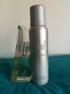 Perfume Ciel Crystal 50 ml. + Desodorante. Nuevo sin uso.