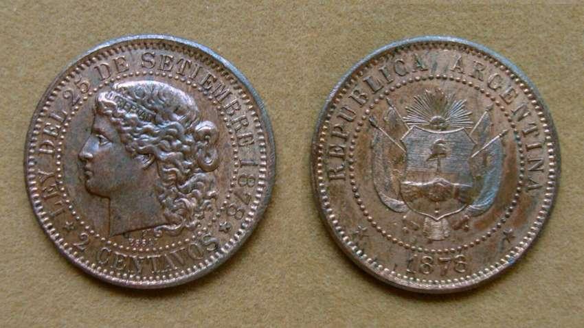 Moneda de 2 centavos Argentina 1878 ENSAYO 0
