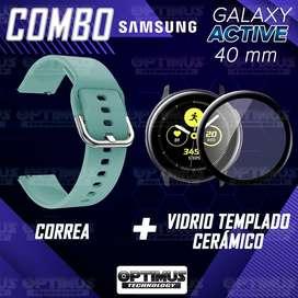 Kit Manilla Correa Manilla y Vidrio Templado Nanoglass Protector de Reloj Smartwatch Samsung Galaxy Active 40mm