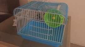 Casa de Hamster Celeste con Ruedita