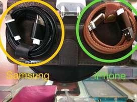 Cable Original Cuero 1Mt iPhone y Samsung
