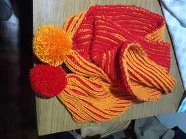 Bufanda bicolor tejida con telar
