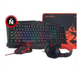 combo gamer 4 en 1 teclado, pad, diadema, mouse
