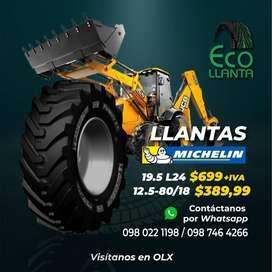 LLANTAS MICHELIN RETROEXCAVADORA 19.5 L24  - 12.5-80/18