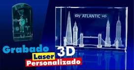 Cristal Laser 3d Personalizado 8x5x5cms / Trofeos Y Regalos Laser