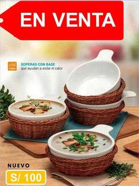 Set de 4 soperas (c/u con canastilla)