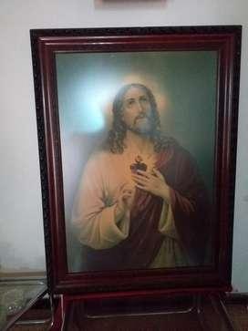 Cuadro Sagrado Corazón Antiguedad 60 Año