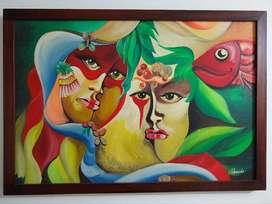 Oleo sobre lienzo escena de carnaval