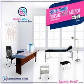 Promoción Combo Médico / Camilla, Gradilla, lámpara, mesa de curaciones, escritorio L, sillón