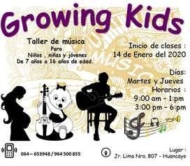 "Clases personalizadas de música ""GROWING KIDS"" Guitarra-Flauta-Piano"