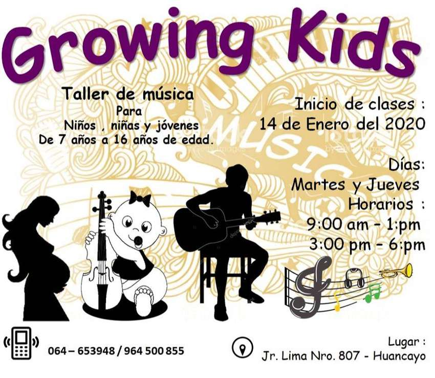 "Clases personalizadas de música ""GROWING KIDS"" Guitarra-Flauta-Piano 0"