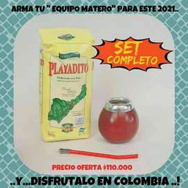 SUPER PROMO! MATE CALABAZA ARGENTINO c\ BOMBILLA y YERBA MATE PLAYADITO 500 GRS.!