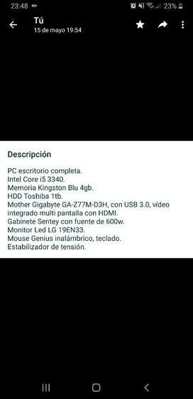 Compu i5 1tb 4GB con monitor