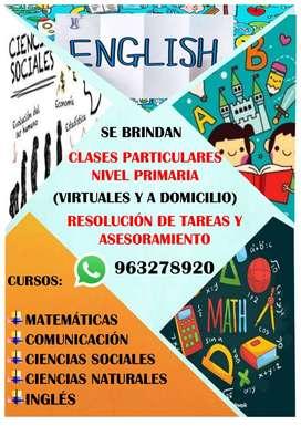 SE BRINDAN CLASES PARTICULARES NIVEL PRIMARIA - CURSOS : MATEMÁTICA / COMUNICACIÓN / INGLÉS / CIEN. SOCIALES Y NATURALES