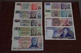 "Lote Serie Completa Billetes Argentinos ""Pesos Argentinos"""