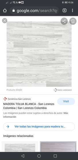 Pisos San Lorenzo MADERA TOLUA BLANCO 60X60