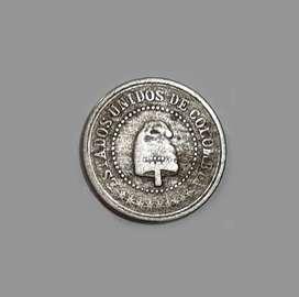 Inusual moneda colombiana de 1881, 2,5 centavos, F