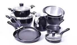 Set Ollas 12 piezas en aluminio color negro (wasap)