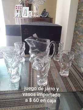 Jarra y vasos vidrio