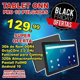 TABLET ONN GAMING 10.1 pulgadas Procesador Octacore 2GHz  3GB DE RAM DDR4 32GB DE ALMACENAMIENTO FULLHD LCD
