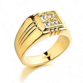 Anillo de Compromiso bañado Oro 18k con Diamantes Suizos Mujer Accesorios Fashion