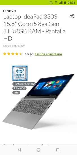 """Vendo laptop Lenovo corei5  1tb 8gb 15,6"""" Nuevo8ta Gen"""