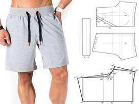 Molde Patron Hombre Bermuda Short  Pantaloneta Deportiva