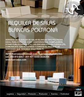 ALQUILER DE SALAS LOUNGE BLANCAS POLTRONA