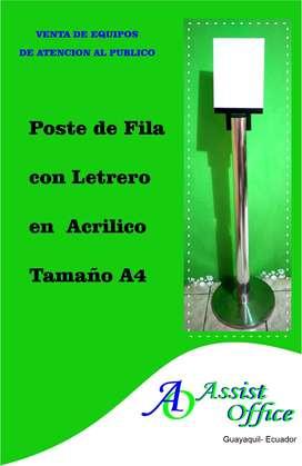 *Porta Afiche* - Letrero para Poste  Mampara Separador de Fila