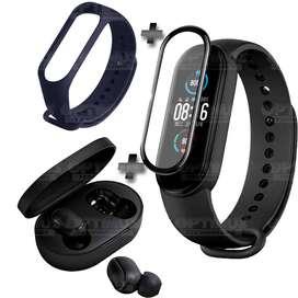 Promoción Reloj Inteligente Smartwatch Xiaomi MiBand 5 + Audifonos Redmi Airdots 2 + Vidrio Templado cerámico Nanoglass