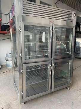 REFRIGERADOR 4 puertas en acero panoramico ideal para lacteos gaseosas cerveza en acero moderno bajo consmo