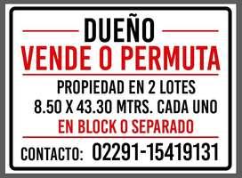 DOS LOTES CONSTRUIDOS Y ESCRITURADOS POR SEPARADO EN MIRAMAR CENTRO ZONA 2