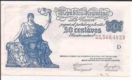 Billete 50 Centavos Moneda Nacional Progreso Serie D