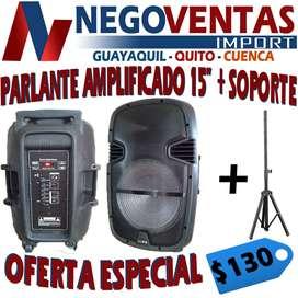 PARLANTE AMPLIFICADO DE 15 PULGADAS + SOPORTE