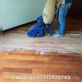 Pulido piso de madera lacado