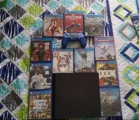 PlayStation 4 Slim, 512 GB espacio, un control, 11 juegos