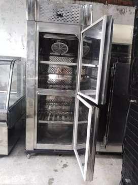 Congelador vertical 2 puertas en acero con garantía frente 82cms fondo 83cms alto 2 metros